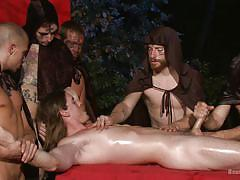 Horny gay worshiper fucking the sacrifice