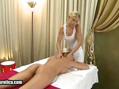 Amateur blonde lesbian babe getting an oily massage