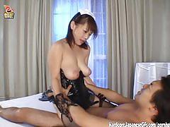 Horny japanese tart rides cock