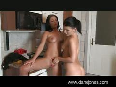 Tereza and rihanna eat pussy in the kitchen