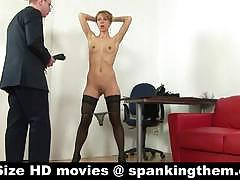 Brunette babe in stockings gets her ass spanked.