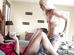 Blonde lesbian licks a hairy pussy