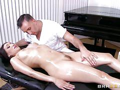 milf, massage, big boobs, oiled, brunette, deep throat, balls sucking, tits squeezing, ass grabbing, dirty masseur, brazzers network, vicki chase, keiran lee