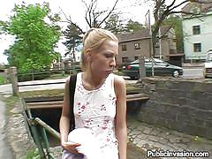Blonde sucks my dick under a bridge