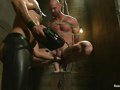 bdsm, bald, gays, tied up, hard dick, ropes, vault, electrodes, electricity, shibari, shocker, bound gods, kink men, mitch vaughn, leo forte, mitch vaughn, leo forte, bound gods, kinky dollars