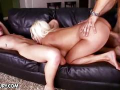 Blonde and brunette get big hard cock