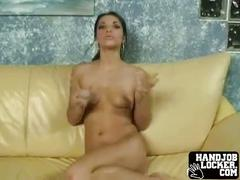 Brunette gets ready to make cock explode