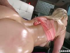 Sexy blonde gets her booty oiled and fucked