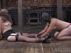 milf, threesome, bdsm, domination, stockings, barn, tied hands, executor, bag on head, real time, real time bondage, maggie mead, maggie mead, real time bondage, kinkster cash