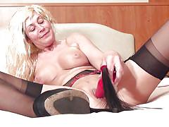 blonde, mature, solo, masturbation, stockings, big boobs, anal plug, sex toy, mature nl, marleen w., marleen w., mature nl, mature money