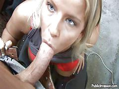 Mature whore gives head in a workshop
