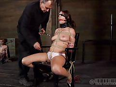 young, bdsm, blindfolded, brunette, tit torture, tied up, ropes, clamps, ball gag, shibari, real time bondage, alisha adams, alisha adams, real time bondage, kinkster cash