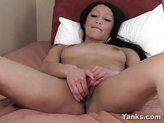 Exotic brunette rosalee fingering her hairy pussy.