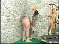 Cleaning lady gets nailed