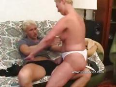 Blond mom catches son