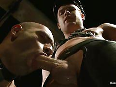 Chained gay fucked in a dark room