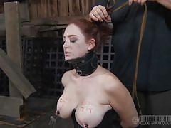 milf, bondage, bdsm, big tits, redhead, corset, tied up, barn, collar, metal clamps, real time bondage, holly wildes, holly wildes, real time bondage, kinkster cash