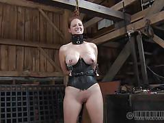 milf, bondage, bdsm, big tits, redhead, corset, tied up, barn, collar, metal clamps, real time bondage, holly wildes, holly wildes, real time bondage, kinkster cash
