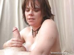 Reta lets victor fuck her plump titties and cum on her face