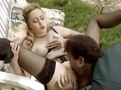 German blonde lingerie double penetration outside