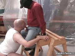 Beefy gay gets fucked and spanked hard.