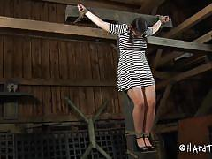 bdsm, glasses, water, scared, tied up, barn, brunette milf, executor, hard tied, marina xx, marina xx, hard tied, kinkster cash