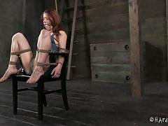 Country girl tied up and used in the barn