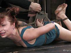 bondage, bdsm, redhead, panties, barn, pussy torture, on chair, executor, ball gag, hard tied, alyssa branch