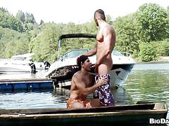 Gay blowjob before the boat ride
