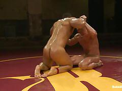 Oiled up and tensed gay wrestling