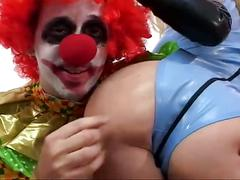 Clown fucks blonde ass