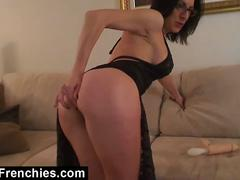 French slut makes herself gag