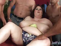 Rampant plumper fucked in gangbang