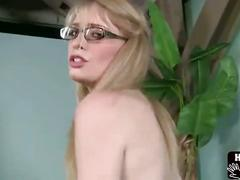 Young blonde enjoys jerking off cock