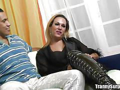Shemale in black undresses for you pleasure