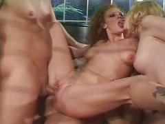 Two horny pussies and asses with two big cocks.