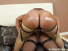 Ebony lesbian sluts strapon hard fuck on the bed.