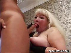 Chubby blonde devours this hard cock