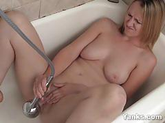Amateur milf mary using a shower for her twat