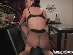Pantyhose femdom foot worship mistress