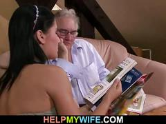 Old husband watches his wife getting banged