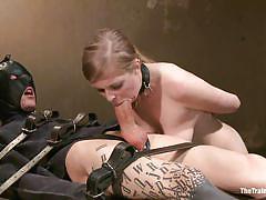 Slut girl whipped while sucking cock
