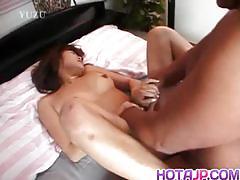 Tomomi ayukawa gets her hairy pussy creamed.