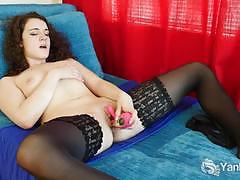 Cutie brunette in stockings dildo fucking her twat