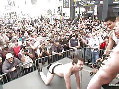 Cock torture in public