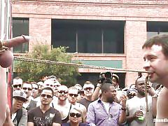 bdsm, outdoor, public, whipping, gangbang, bound, gays, clamps, ball gag, crowd, cbt, bound in public, kink men, sebastian keys, master avery, jason miller, sebastian keys, master avery, jason miller, bound in public
