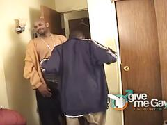 Young black twinks gets drilled by black hunk.