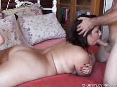 Cute chubby brunette rosie enjoys a hard fucking