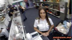 Sexy stewardess agreed to suck a cock and got fucked good