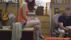Innocent busty teen selling stuff in pawnshop